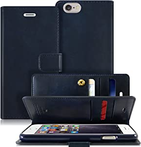 Goospery Mansoor Wallet for Apple iPhone 6S Plus Case (2015) iPhone 6 Plus Case (2014) Double Sided Card Holder Flip Cover (Navy) IP6P-MAN-NVY