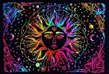 Organikzz Real Indian Hippie Bohemian Sun Moon Stars Tie Dye Mandala Wall Hanging Bedding Tapestry Aesthetic Tapestry Psychedelic Trippy Tapestry for Bedroom Home (Single Size) (85x55 Inch)