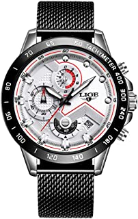 LIGE Watchs Men Waterproof Stainless Steel Mesh Band Chronograph Sports Fashion Analog Quartz Watch Gents Date Casual Wrist Watch White
