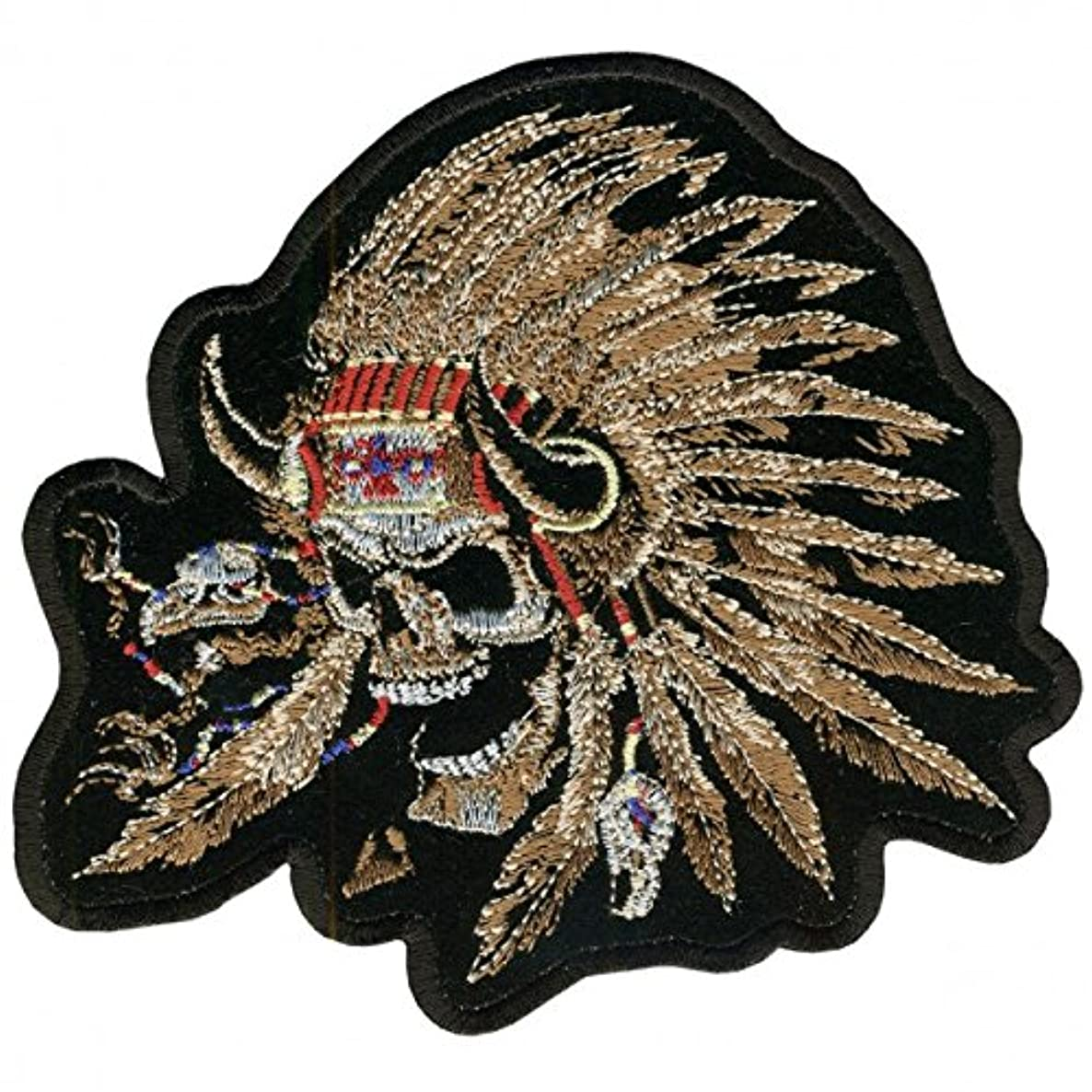 Hot Leathers, INDIAN SKULL NATIVE AMERICAN WARRIOR SKULL, Iron-On / Saw-On Rayon PATCH - 12