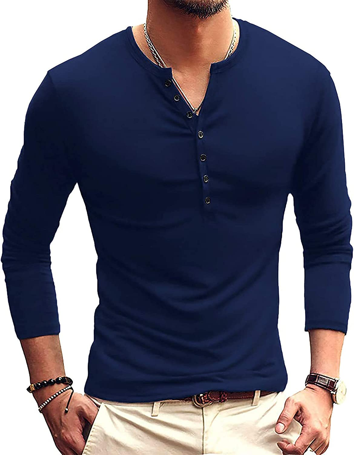 Bravetoshop Men's Casual Slim Fit Long Sleeve Henley T-Shirts Casual Cotton Tee Shirts Athletic Classic Tops