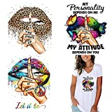 Iron On Patches for Clothing Designer Washable Women Iron On Stickers Butterfly Sexy Lips Leopard Design Heat Transfer Decals for Clothes T-Shirt Backpacks Jackets DIY Decoration Applique 3PCS