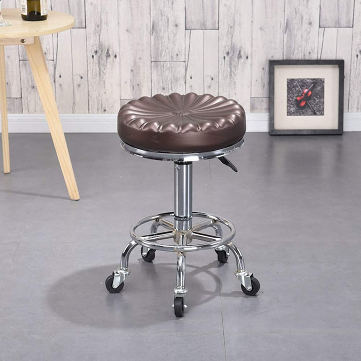 部分的に階層明るいローリング回転スツール製椅子、車輪付き、メタル三脚、マッサージスパサロン美容理髪マニキュアキッチンギターオフィス,BrownC