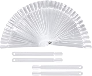 200 Pieces Nail Swatch Sticks Transparent Nail Art Practice Nail Tips Display Polish Board Display with Metal Screw Holder Fan Shaped Plastic Nail Art Tips