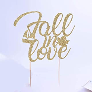 YUINYOWedding Cake toppers - Fall in Love - Gold Glitter with Fall Leaves and Sailboat - Premium Quality- Finally Cake topper, Anniversary, Cake Decorating Supplies