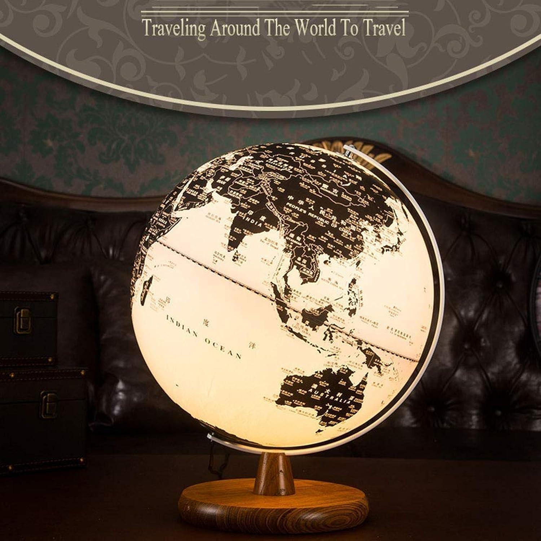 Schwimmende Globen Kugel Karte Schreibtisch Raum Massivholz Globus leuchtende Ornamente Handwerk Antik Holz Desktop Dekoration Geschenk Ornamente - Modell 13-Zoll