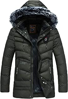 Stoota Men's Winter Removable Faux Fur Hooded Coat, Mid-Length Camouflage Frost-Fighter Lined Packable Parka Jackets