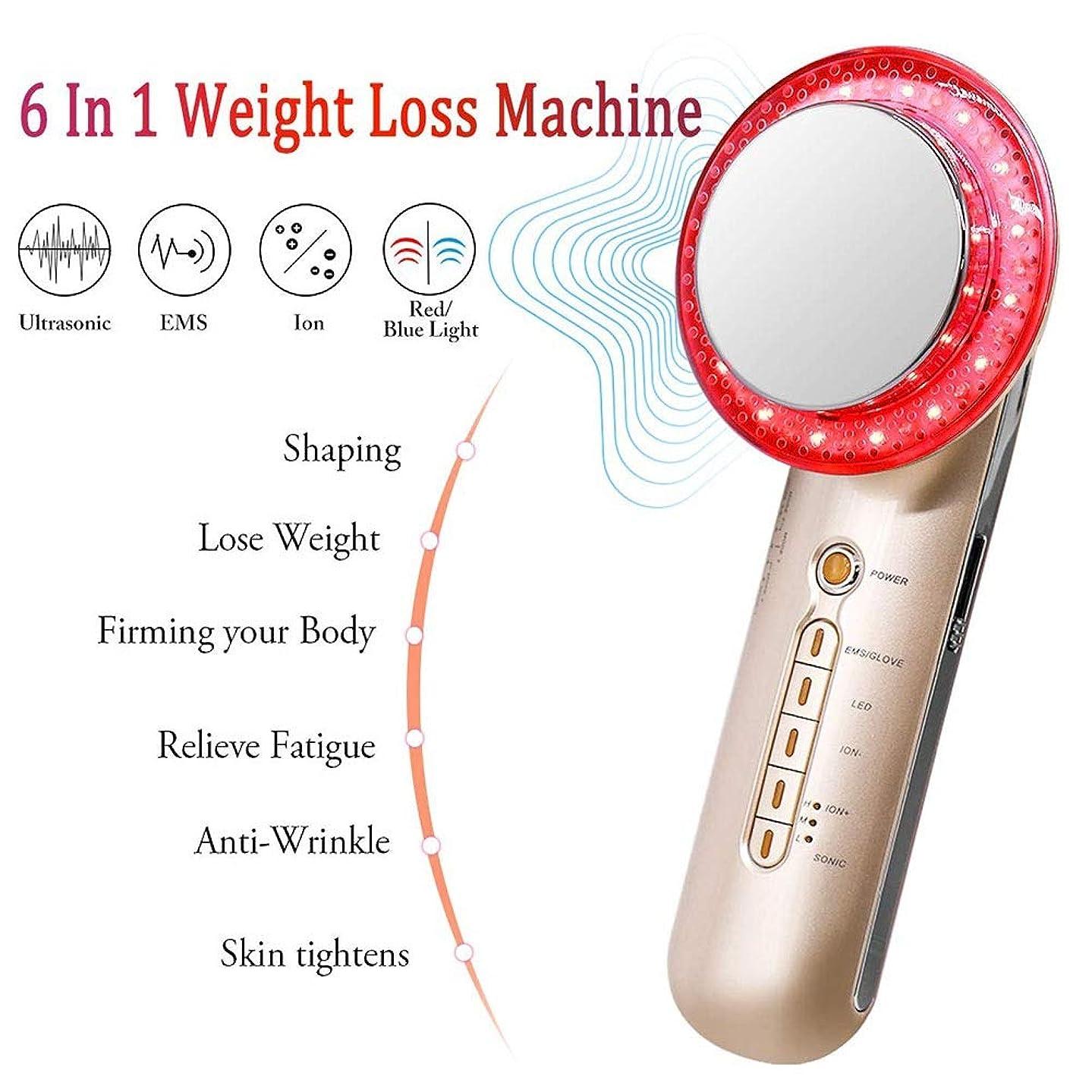 体操選手口ひげ過剰6 1台の減量のマシンでは、多機能マッサージャー脂肪燃焼マシン、EMSボディシェーピングマシン、イオンブルーレッドライトホーム用スキンケア美容デバイスとのファットリムーバーマシンは、肌のための締め