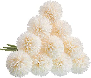 CQURE Artificial Flowers, Fake Flowers Silk Plastic Artificial Hydrangea 10 Heads Bridal Wedding Bouquet for Home Garden Party Wedding Decoration 10Pcs (White)