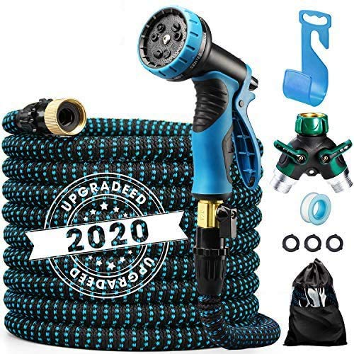 Delxo 2020 Upgrade100FT Expandable Garden Hose Water Hose with 9-Function High-Pressure Spray Nozzle, Heavy Duty Flexible Hose, 3/4