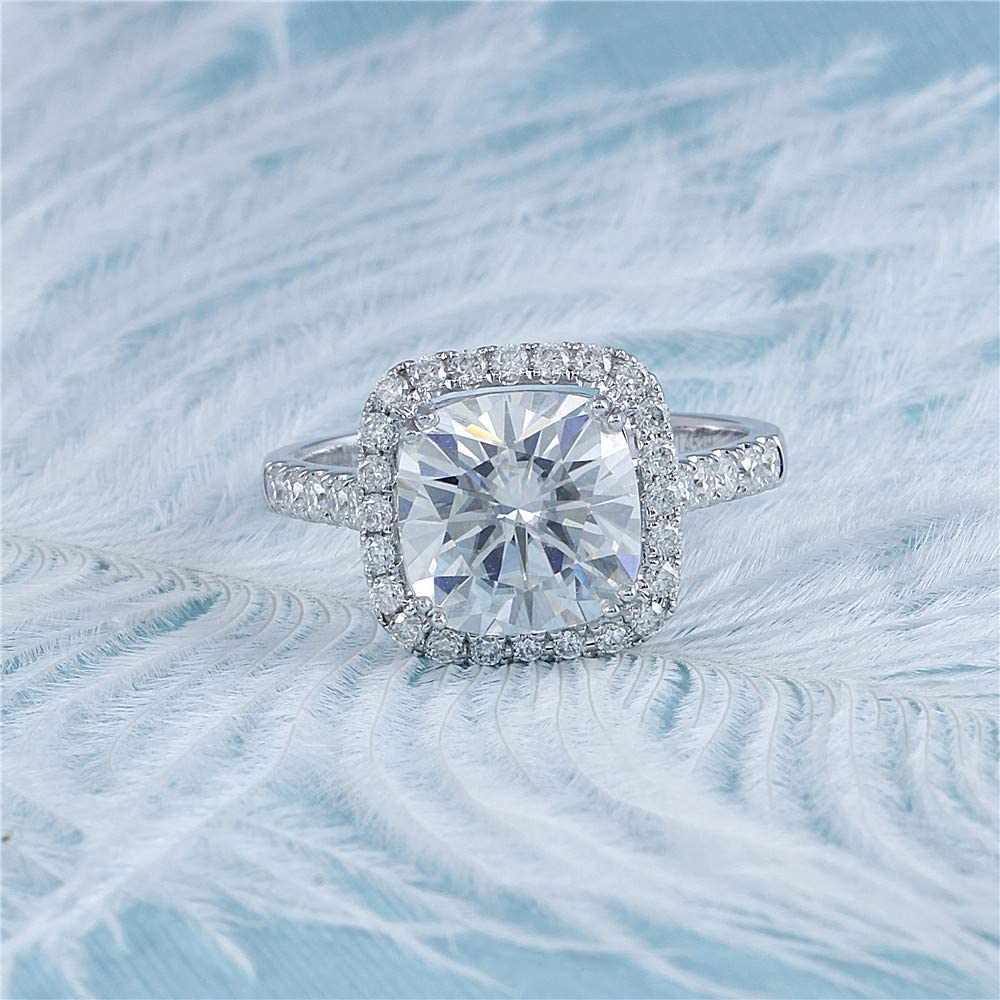 DovEggs Solid 14K White Gold Center 2ct 7.5mm G-H-I Color Cushion Cut Created Moissanite Halo Engagement Ring with Accents