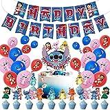 Lilo Stitch Party Supplies,Stitch Happy Birthday Party Decorations,Lilo And Stitch Cupcake Toppers,Banner, Lilo & Stitch Theme Cake Decor Boy Children Cartoon Party Decoration Kid's Birthday Party Decoration Supplies
