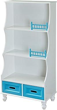 YFDZONE Kids Bookcase with Storage Kids Bookshelf Wooden Bookcase with 3-Tier Shelf and 2 Storage Drawer Organizer Holder Sta