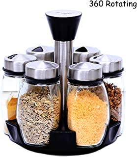 Empty Spice Jar Glass Condiment Container Seasoning Bottle Dispenser Shaker Server with 360 Revolving Spice Rack Crust Stand Holder Station Organizer Lazy Susan Spice Rack (6Pack Spice Shaker, Glass)