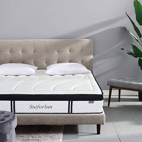 Suiforlun 14 Inch Hybrid Gel Memory Foam And Innerspring Mattress Breathable Bamboo Cover Zoned Pocket Spring CertiPUR US Certified Queen