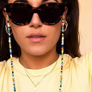 TseenYi Chaîne de lunettes antidérapantes Bohème avec perles colorées pour homme et femme (opaque)