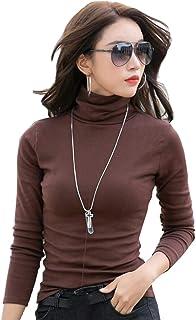 5445d5f7317 Babyonlinedress Pull Femme Col Roulé sous-Pull Basique élastique Top Femme  à Manches Longues Hauts