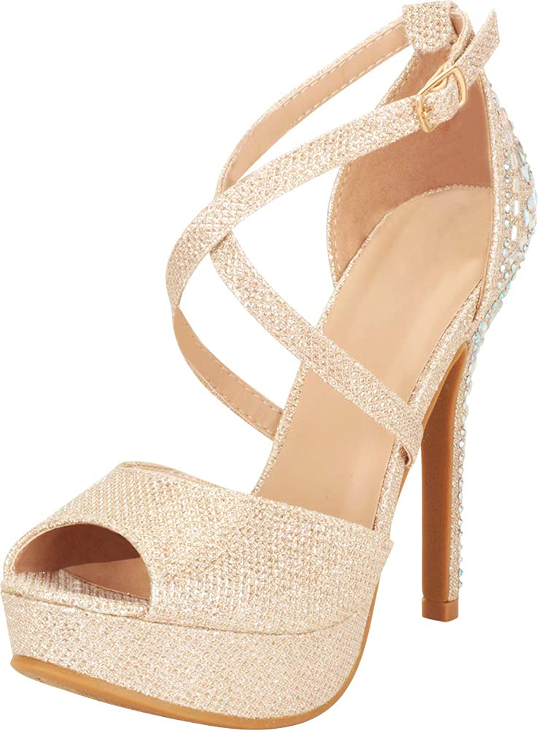 Cambridge Select Women's Open Toe Crisscross Strappy Crystal Rhinestone Platform Stiletto Heel Dress Sandal