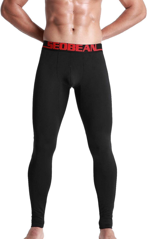 SEOBEAN Mens Low Rise Warm Thermal Underwear Pants Base Layer Long John