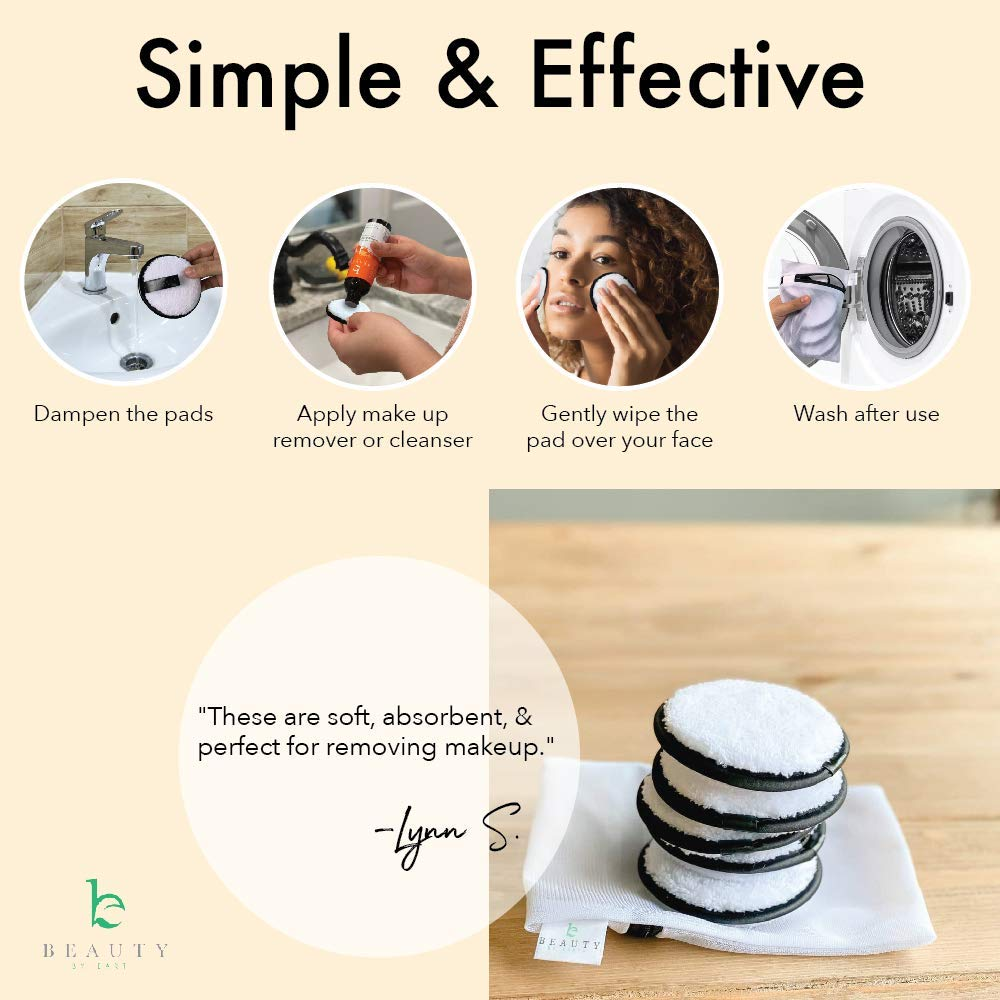 Reusable Microfiber Makeup Remover Pads - Pack of 5 Face Wipes for Women to Remover Make Up, For Face Makeup or as Eye Makeup Remover, Includes Small Laundry Bag for Washable Cleansing Pads (1 pack) : Beauty & Personal Care