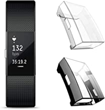 Leotop[2 Pack] Compatible with Fitbit Charge 2 Screen Protector, Soft TPU Plated Case Full Cover Rugged Bumper Lightweight Frame Compatible Fitbit Charge 2 Smart Watch (Black+Clear)