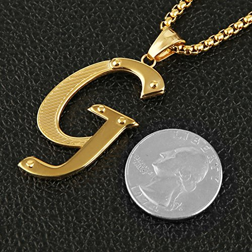 HZMAN Mens Stainless Steel Alphabet Initial Letters Pendant Necklace 2 Colors Gold Silve from A-Z (G - Gold)