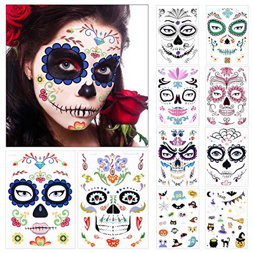 10 hojas Halloween Tatuaje Temporal Cara Da de Muertos Esqueleto Crneo Pegatinas para Especial Costume Maquillaje