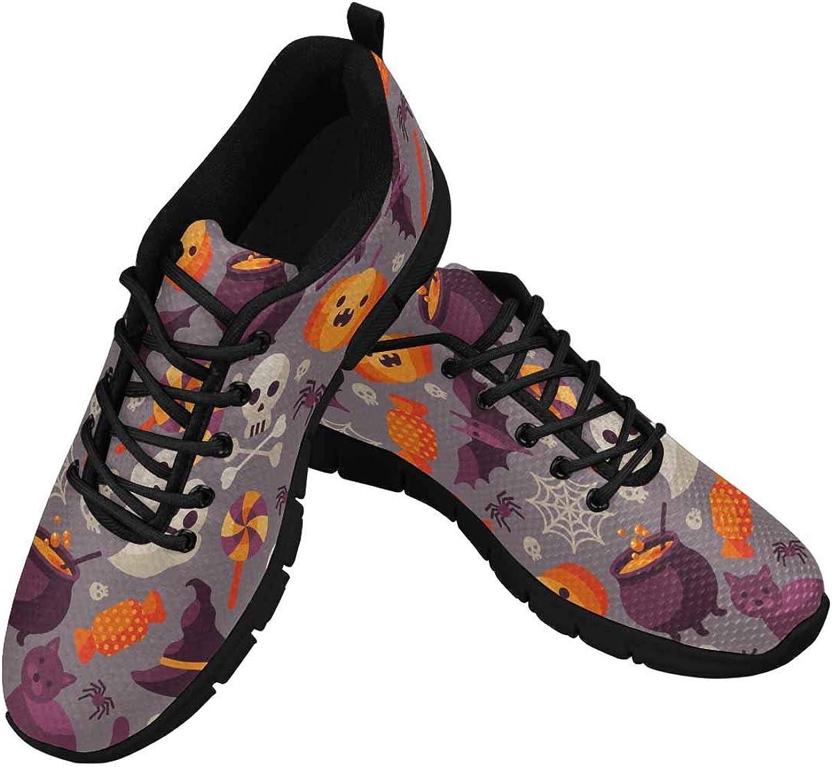 INTERESTPRINT Halloween Pattern with Orange Pumpkin Women's Lace Up Running Comfort Sports Sneakers