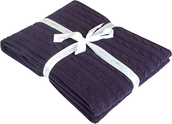 NTBAY 100 Cotton Cable Knit Throw Blanket Super Soft Warm Multi Color 51 X 67 Eggplant Purple