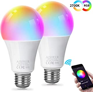 AISIRER Bombilla Inteligente Bombilla WiFi LED Blanco Suave 2700K+ RGBW Multicolor Compatible con Amazon Alexa Echo,Echo Dot Google Home No se requiere hub Regulable E27 (paquete de 2)