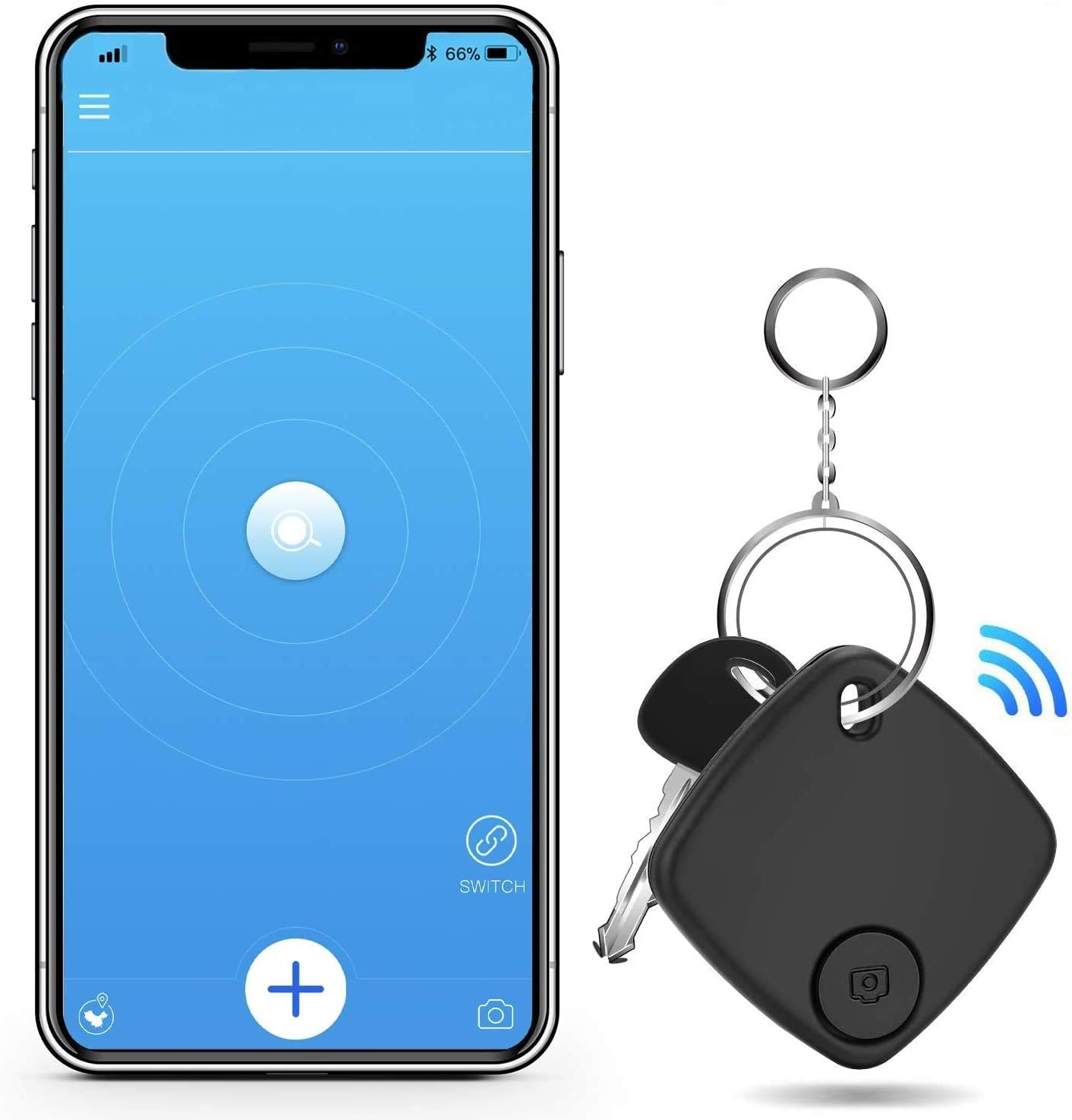 Anti-Lost Bluetooth Item Finder Wallet Tracker Key Finder Smart Tracker Device with App for Phones Keychain Purse Luggage Bag Key Finder Locator