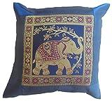 Elefanti Fiori Blu–Federa per cuscino 41,5cm x 41,5cm Thai Silk divano