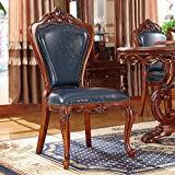 N&O Renovation House Modern Dining Chairs Leather Chair Solid Wood Double Sided Carved Vintage American Dining Chair 2 Pieces Blue (Color : Blue Size : 52x50x106cm)