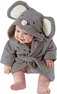 KAIXLIONLY Baby Boys Girls Bathrobe Towel Cartoon Animals Theme Party Costume Children Sleepwear Pajamas (110, Gray)