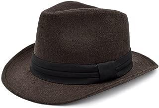 Unisex Classic Solid Color Wide Brim Felt Fedora Hat w/Black Band - Diff Colors