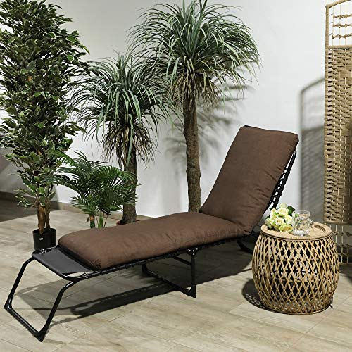 TIENDA EURASIA® Cojín para Tumbona de Jardín - 10 Colores - Cojín Acolchado Relleno de Fibra - Medidas 180 x 50 x10 cm (Chocolate)