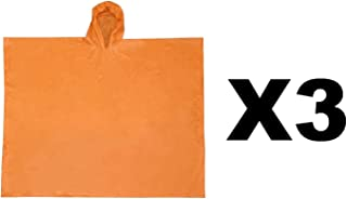 Ultimate Survival Technologies All-Weather Poncho Youth Orange w/Hood (3-Pack)