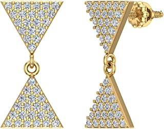 Diamond Dangle Earrings Triangle Pattern Cluster Hour-glass Look 14K Gold 0.65 ctw (G,SI)