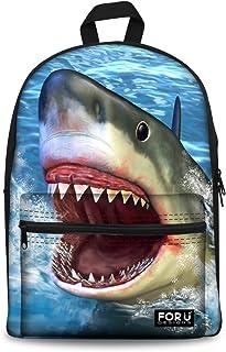 HUGS IDEA Laptop-Rucksack mit 3D-Hai-Motiv, Segeltuch, für Herren, Marineblau