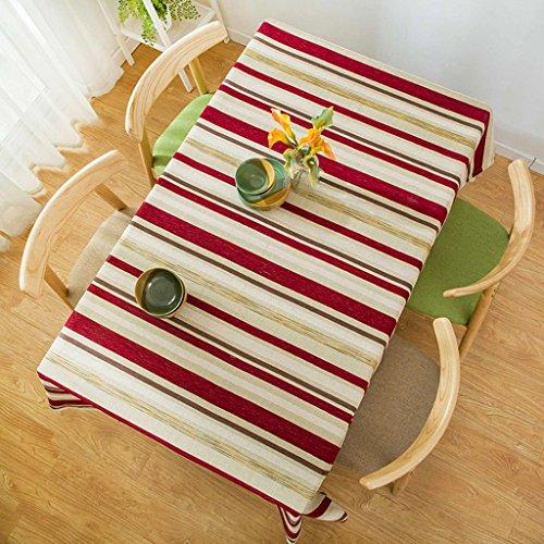 Lying Modern Simple Stripe Table Tissu Littérature et Art Bleu Salon Table Basse Cloth Hôtel Restaurant Nappe Rectangulaire - Décoration de Table (Couleur : #2, Taille : 130 * 130CM)