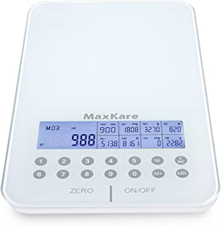 MaxKare Digital Nutrition Food Scale with Tempered Glass and Portions Nutritional Facts Display, Kitchen Scale with Automatic shut-off Function, Compatible with Vegetables, Fruits, and Meat