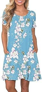 Women's Summer T Shirt Dresses Casual Short Sleeve Swing Dress with Pockets Knee Length