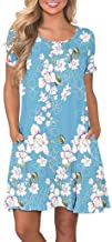 Gogoodgo Women's Summer T Shirt Dresses Casual Short Sleeve Swing Dress with Pockets Knee Length