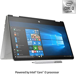 HP Pavilion x360 14-dh1025ne Convertible Laptop, 14 inches FHD, Intel® Core™ i3 processor, 4GB RAM, 256GB SSD, Intel UHD Graphics, Stylus Pen, Windows 10 Home, EN-AR KB, Silver-Middle East Version