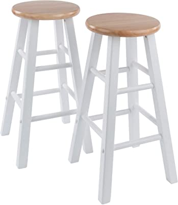 """Winsome Element 2pc Set 24"""" Counter Stool, Natural/White Finish"""