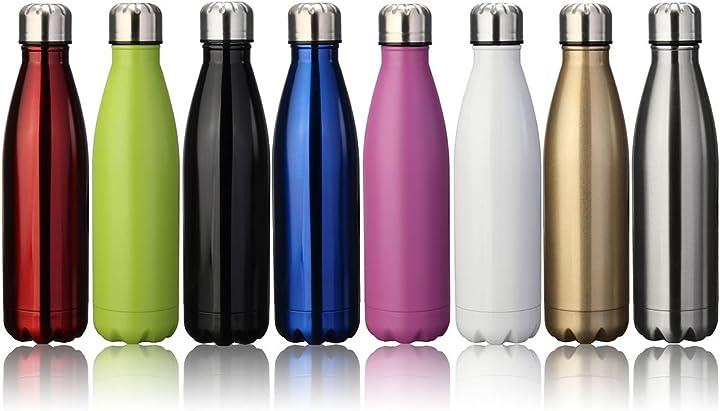 King do way termica bottiglia d`acqua sportive 500ml per mantenere caldo e freddo, wosirlit4908