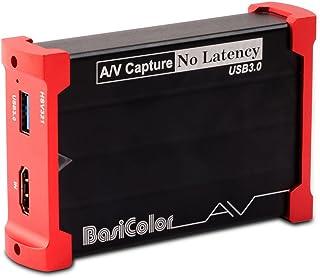 Basicolor キャプチャーボード HDMI USB3.0 1080P 60FPS、Switch PS4 Xbox Wii U ウェブカメラ PS3に対応、1080P HDMI パススルー、HDCP、HD HDMIゲーム録画・HDMIビデオ録画・ライブ配信用キャプチャーデバイス、Windows 7/8/10 MacBook Linux OBS Potplayer Youtube Twitchに対応 HSV321