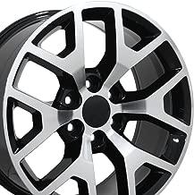 OE Wheels 22 Inch Fits Chevy Silverado Tahoe GMC Sierra Yukon Cadillac Escalade CV92 Black Mach'd 22x9 Rim Hollander 5656 - coolthings.us