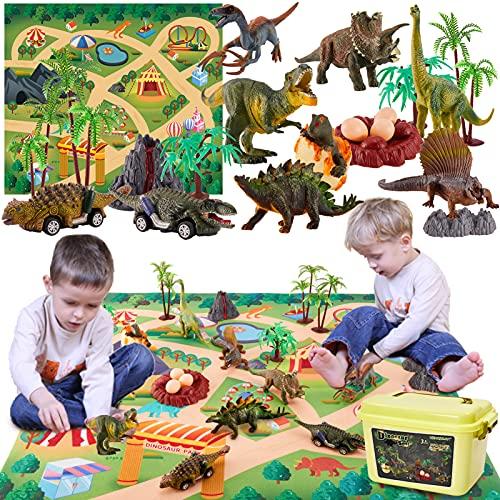 TOEY PLAY Juguete Dinosaurios Figuras con Tire hacia Atrás Coche, Tapete de Juego, Huevos de Dinosaurio, Juguetes Educativo Regalo Niños Niñas 3 4 5 6 Años