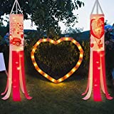 Hiboom 2 Pieces Valentine's Day Windsock Polyester Garden Windsock Love Pattern Decorative Windsock for Valentine's Day Outdoor Hanging Home Decoration